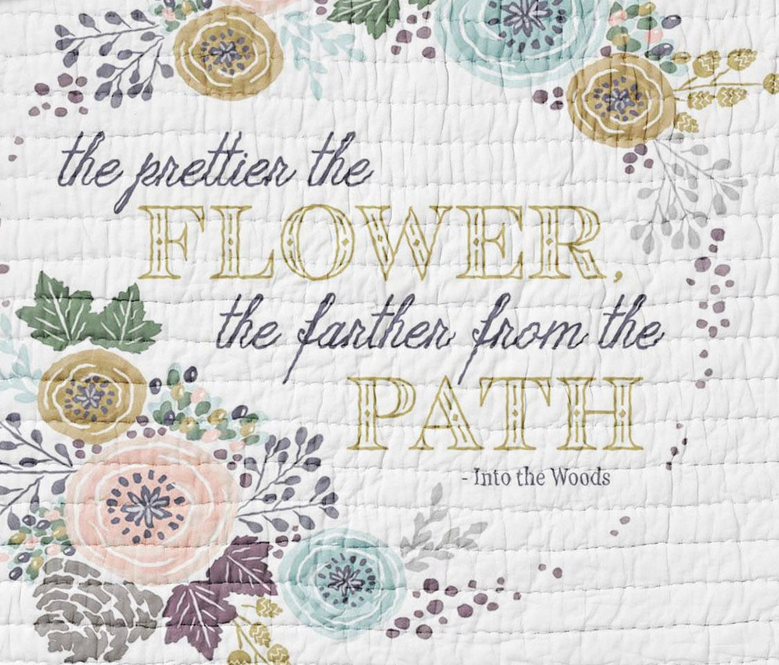 Floral Quote Quilt Twin Full Queen Sized  Wild Flowers Garden Quilt Bohemian  Purple Woodland Girls Bedding Purple Rustic Farmhouse - Orange Blossom Special  @orangeblossomspecial805