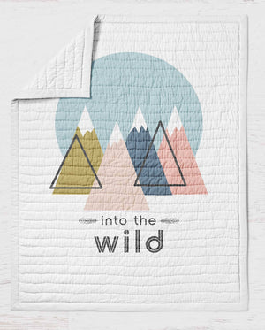 Mountains Quilt - Wild Heart Crib Quilt - Outdoors Toddler Bedding -Throw Blanket- Woodland Nursery- Wholecloth Lap Quilt Bed- Adventure Bed - Dream Evergreen @DreamEvergreen
