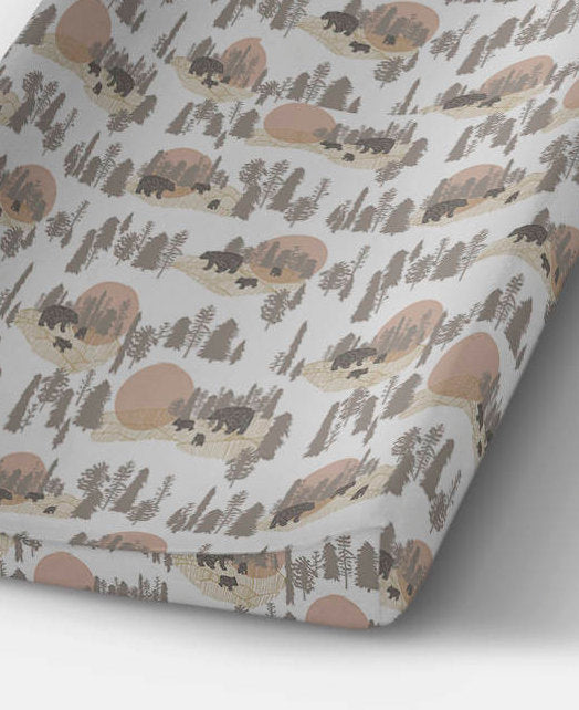 Bear Changing Pad Cover- Bear Fitted Crib Sheet- Boys Change Mat Cover- Bears Crib Bedding Set- Woodland Nursery Decor - Rustic Baby Shower - Orange Blossom Special  @orangeblossomspecial805