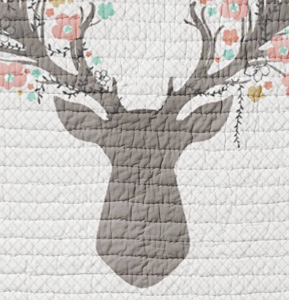 Deer Baby Quilt - Fawn Crib Quilt - Toddler Bedding- Infant Rustic Baby Shower Gift- Woodland Nursery Girlie- Pink Grey Wholecloth Quilt - Orange Blossom Special  @orangeblossomspecial805