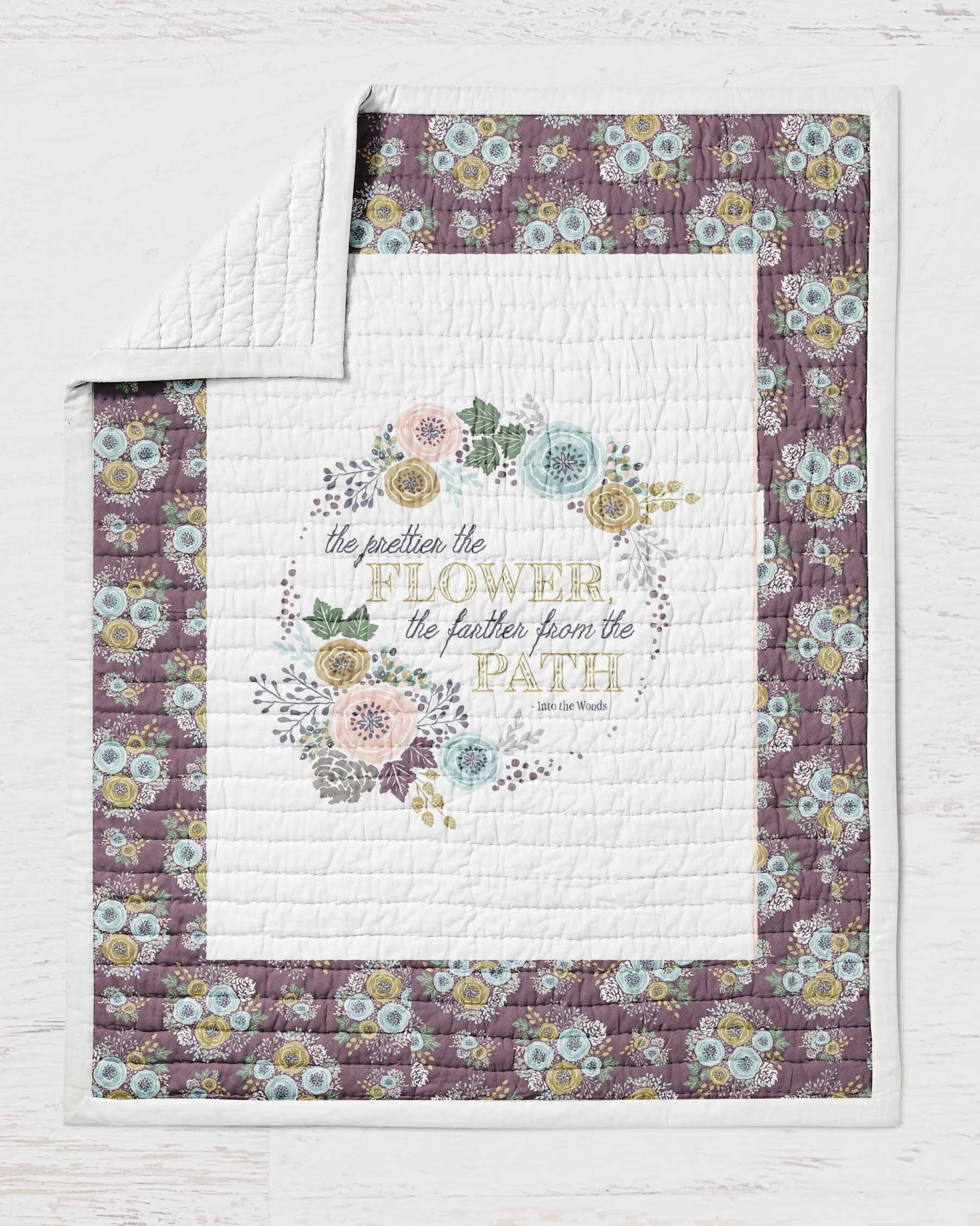 Floral Quote Quilt Twin Full Queen Sized  Wild Flowers Garden Quilt Bohemian  Purple Woodland Girls Bedding Purple Rustic Farmhouse - Dream Evergreen @DreamEvergreen