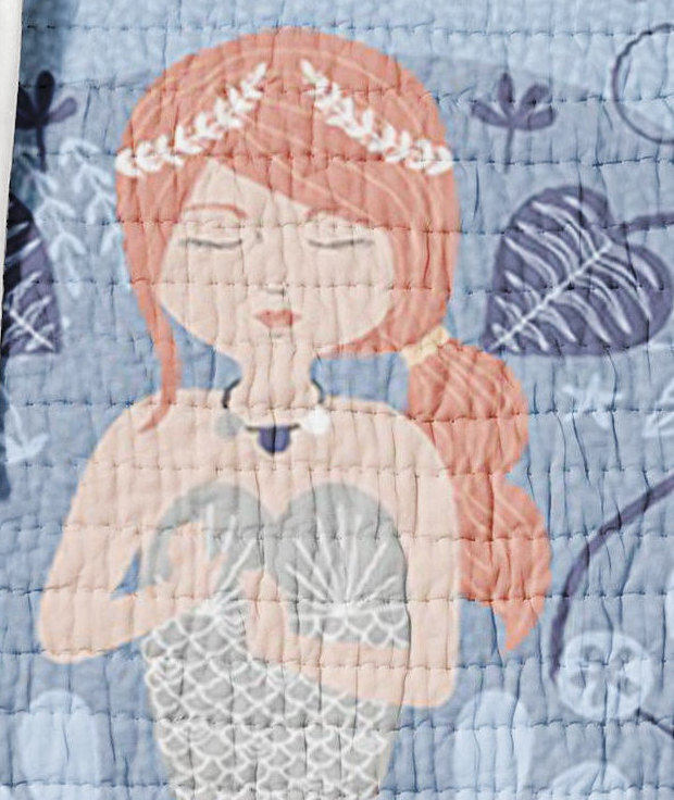 Mermaid Twin, Full Queen Sized Quilt Sea Turtles Nautical Ocean Life Girls Bedding Kids Blue Pink Coral Reef Teen Sea Horses Shells Seaweed - Orange Blossom Special  @orangeblossomspecial805