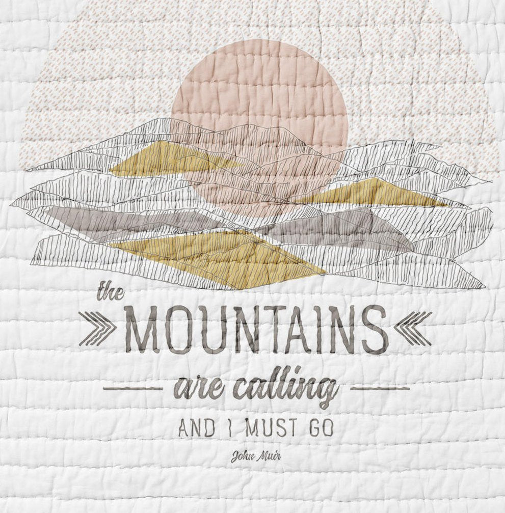 Mountains Quilt Twin Full Queen Sized Bears Bedding  Pink Gold Rustic Bedroom Decor Woodland Mountains are Calling and I Must Go Adventure - Dream Evergreen @DreamEvergreen