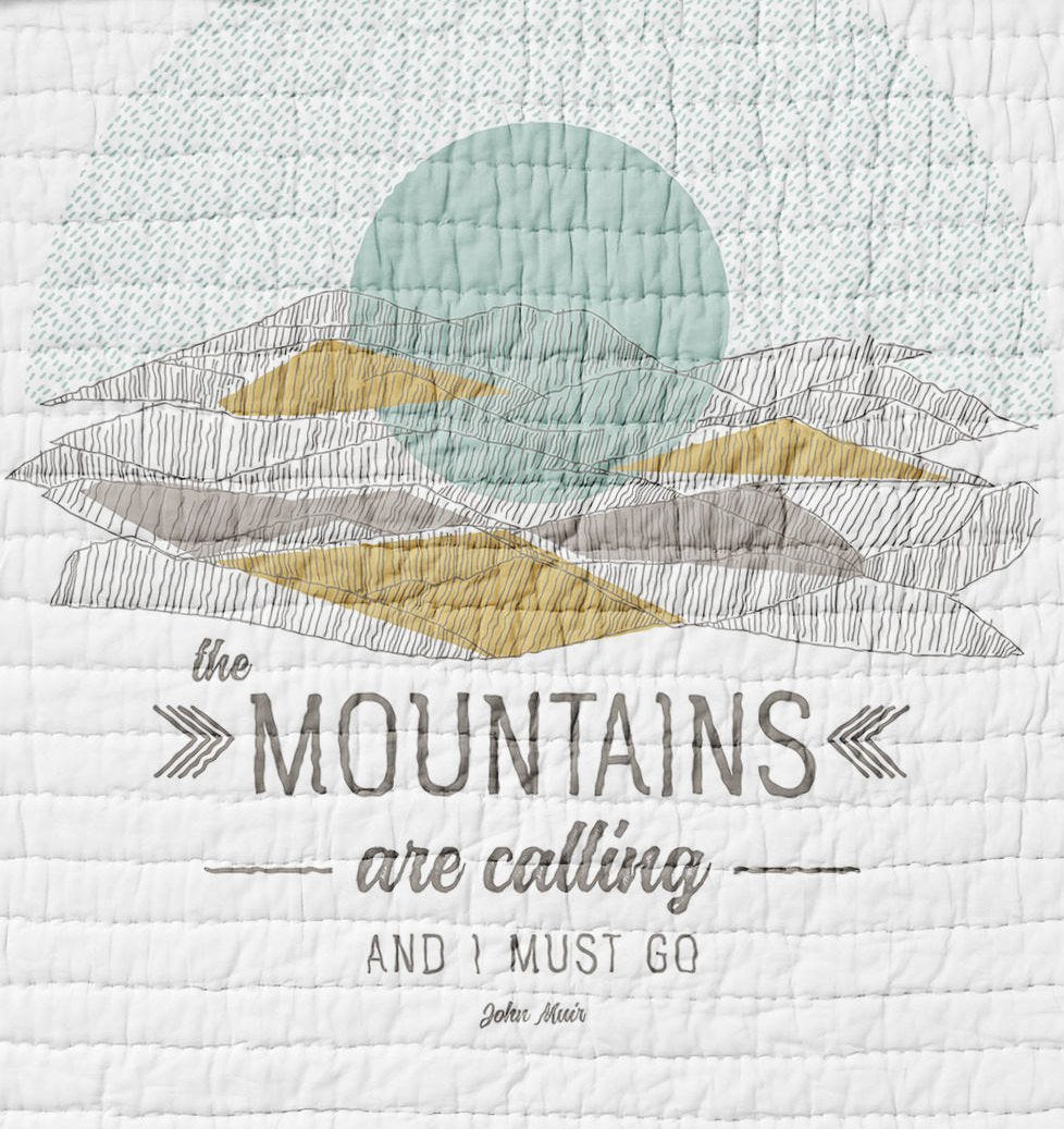 Mountains are Calling Twin, Full, or Queen Sized Quilt Adventure Bears Sunset Bedding  Blue Rustic Woodland  Bedroom Gold Gender Neutral - Dream Evergreen @DreamEvergreen