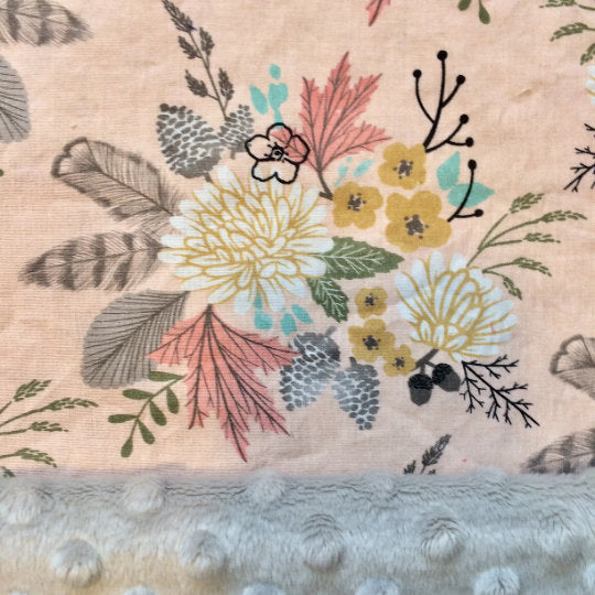 Feather Throw Blanket Girls Baby Blanket Boho Bedding Set Bohemian Minky Blankie Woodland Nursery Birds Floral Fitted Crib Sheets Pink Gold - Dream Evergreen @DreamEvergreen