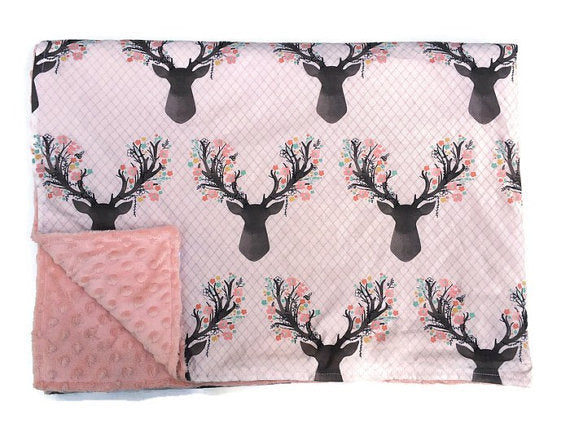 Deer Baby Blanket - Buck Newborn Receiving Blanket- Doe Infant Blanket- Baby Blanket Girls Pink Woodland Rustic Nursery Flowers Floral - Dream Evergreen @DreamEvergreen
