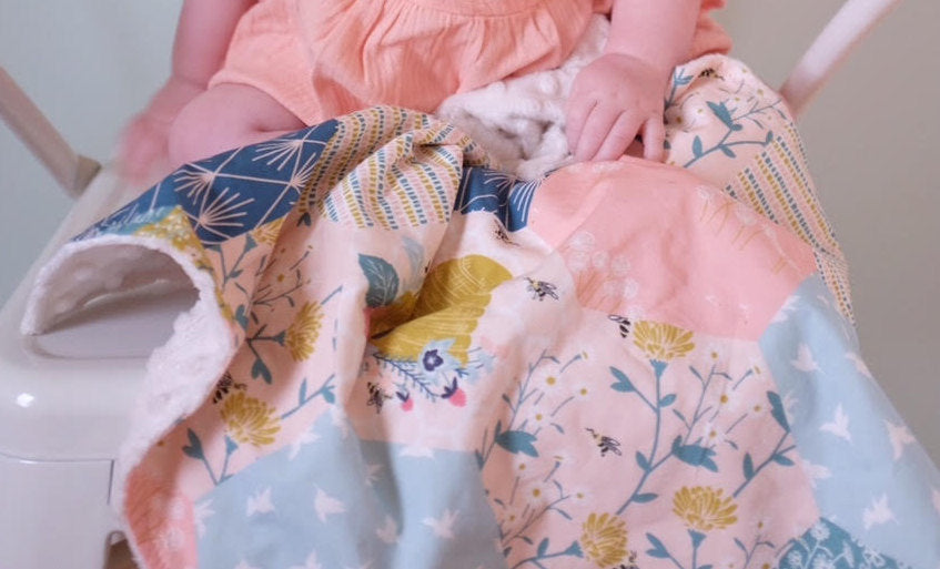 Bumble Bee Throw Blanket Newborn Floral Receiving Infant Flowers Swaddle Set Crib Sheets Bedding Woodland Nursery Baby Blanket Pink Blue - Orange Blossom Special  @orangeblossomspecial805