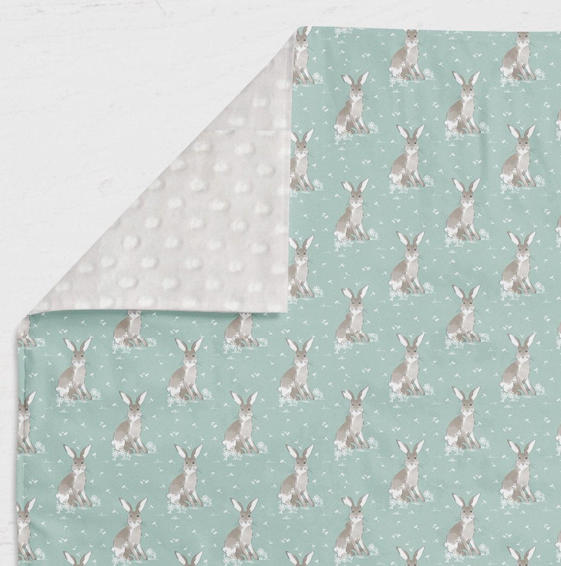 Woodland Nursery Set- Bunny Fitted Crib Sheet- Rabbit Blanket- Floral Crib Skirt- Rail Guard Cover- Crib Bumper- Changing Pad Cover Girls