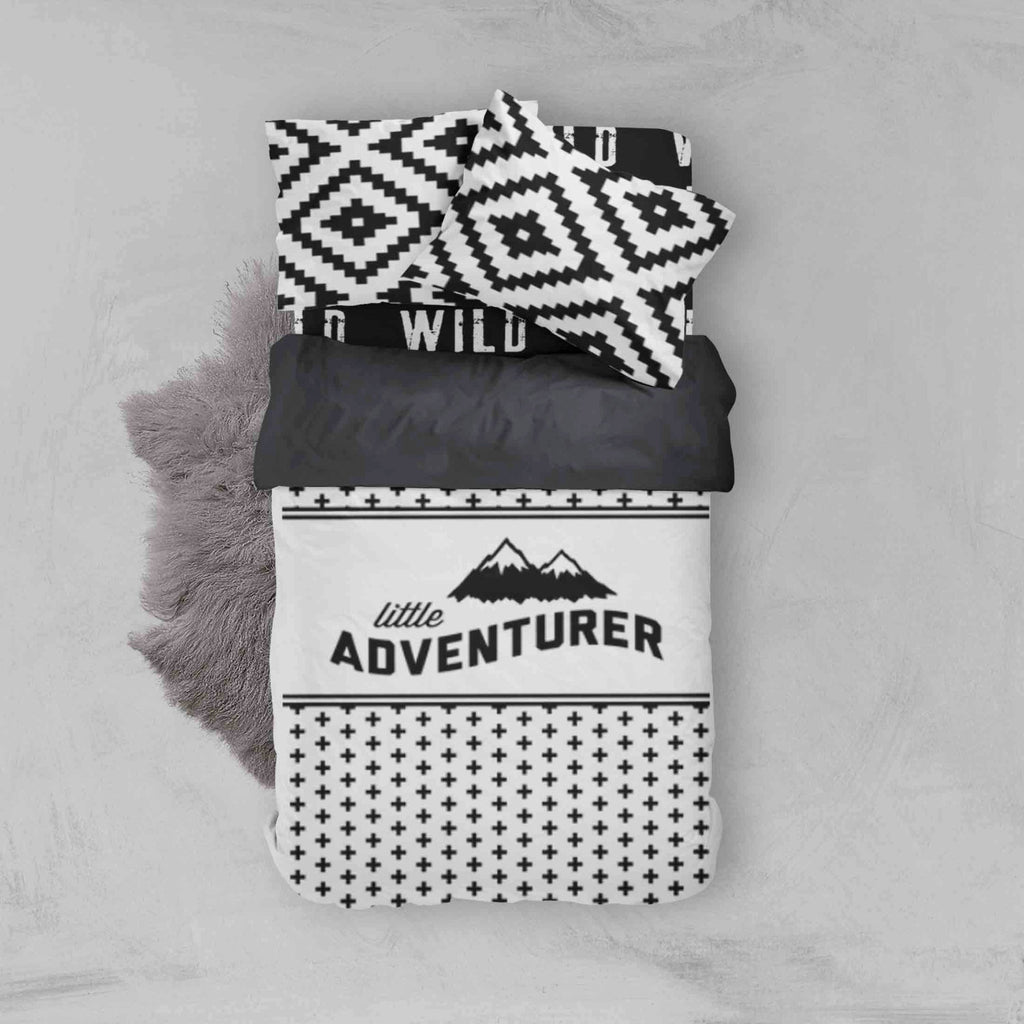 Boy Toddler Bedding Sets - Adventure Wild Aztec Monochrome - Dream Evergreen @DreamEvergreen