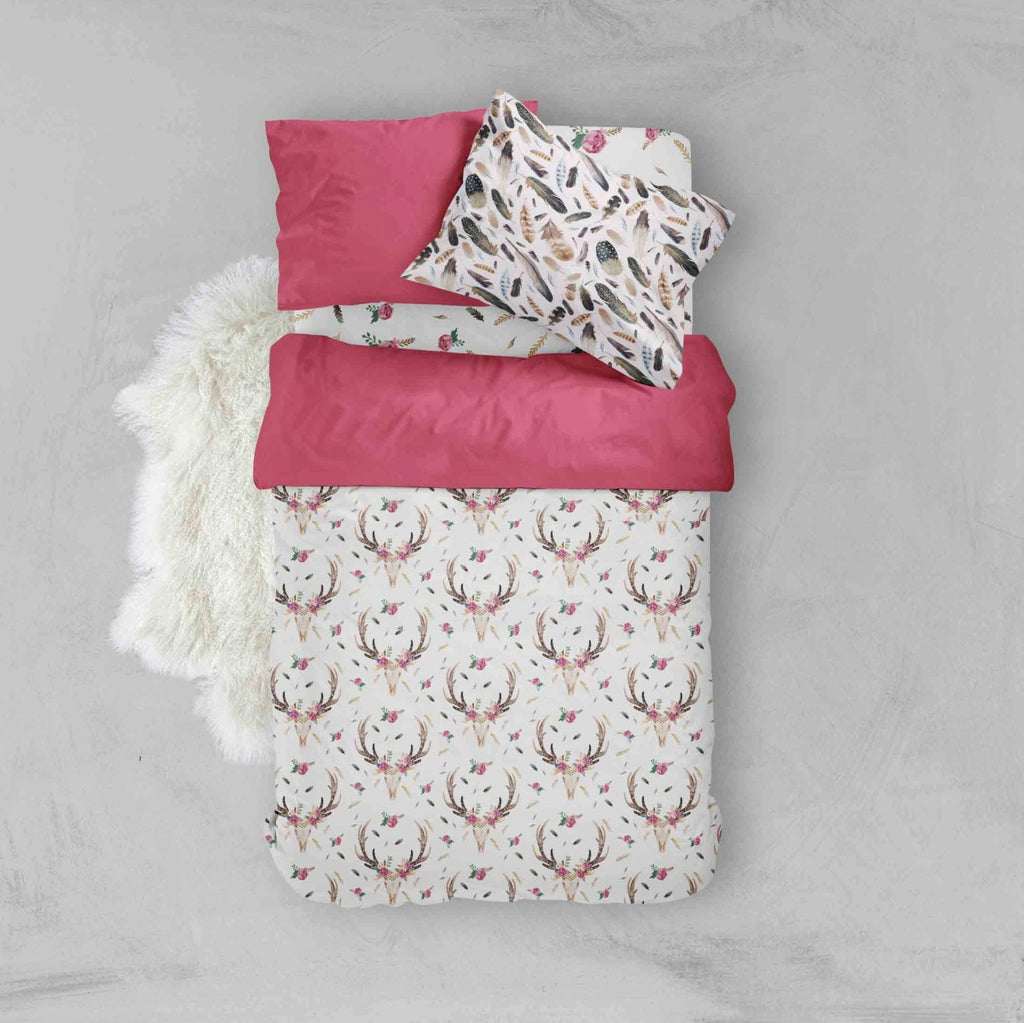 Toddler Bedding Sets - Pink Boho Skull Flowers Feathers - Dream Evergreen @DreamEvergreen