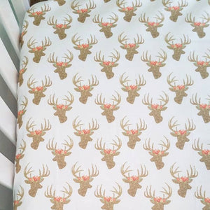 Deer Fitted Crib Sheets Girls Baby Bedding - Dream Evergreen @DreamEvergreen