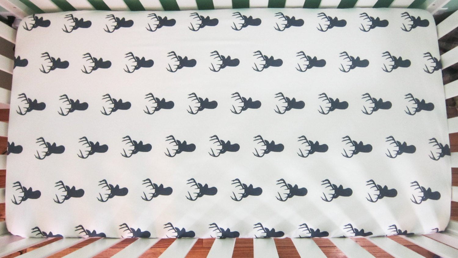 Navy Blue Deer Head Crib Sheet - Orange Blossom Special  @orangeblossomspecial805