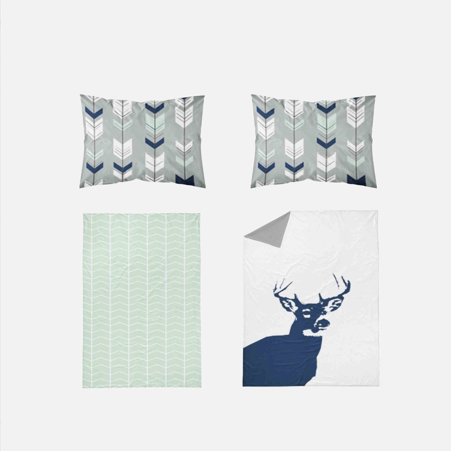 Boy Toddler Bedding Sets - Woodland Navy Deer - Orange Blossom Special  @orangeblossomspecial805