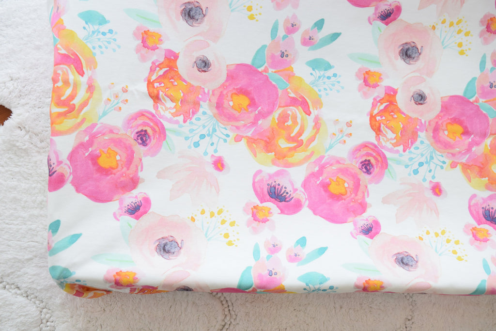 Floral Changing Pad Cover - Flowers Pad Cover - Orange Blossom Special  @orangeblossomspecial805