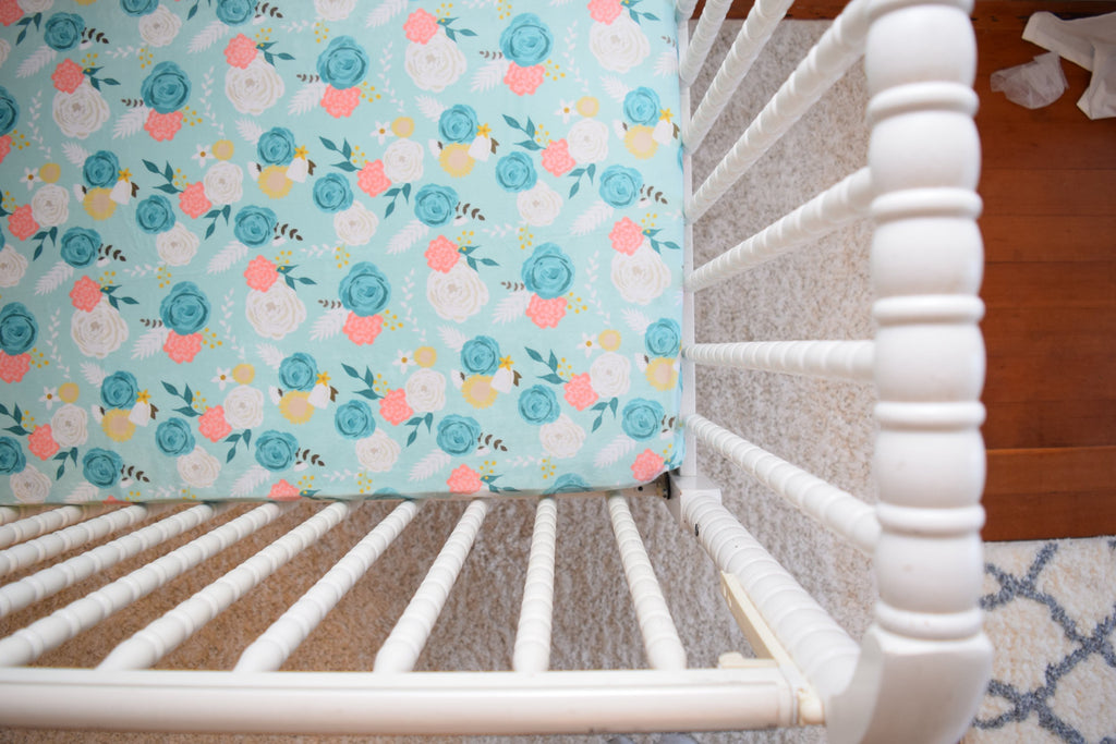 Mint Floral Fitted Crib Sheet Blue Green Baby Bedding - Dream Evergreen @DreamEvergreen
