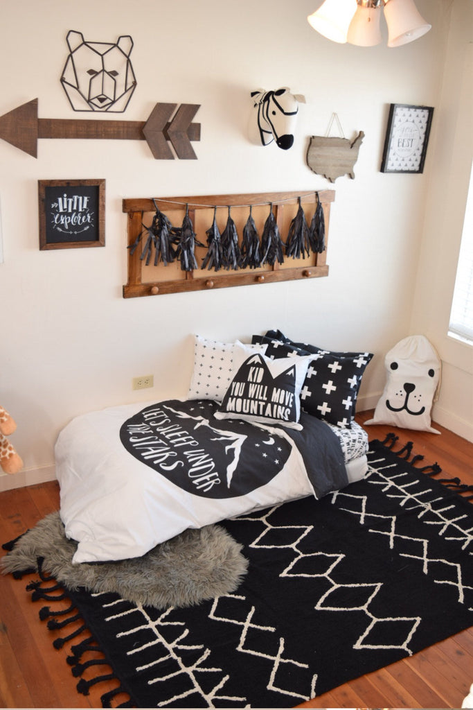 Boy Toddler Bedding Sets - Sleep Under Stars Monochrome - Dream Evergreen @DreamEvergreen