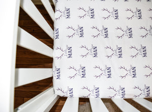 Little Man Crib Sheet - Antlers Crib Bedding - Dream Evergreen @DreamEvergreen
