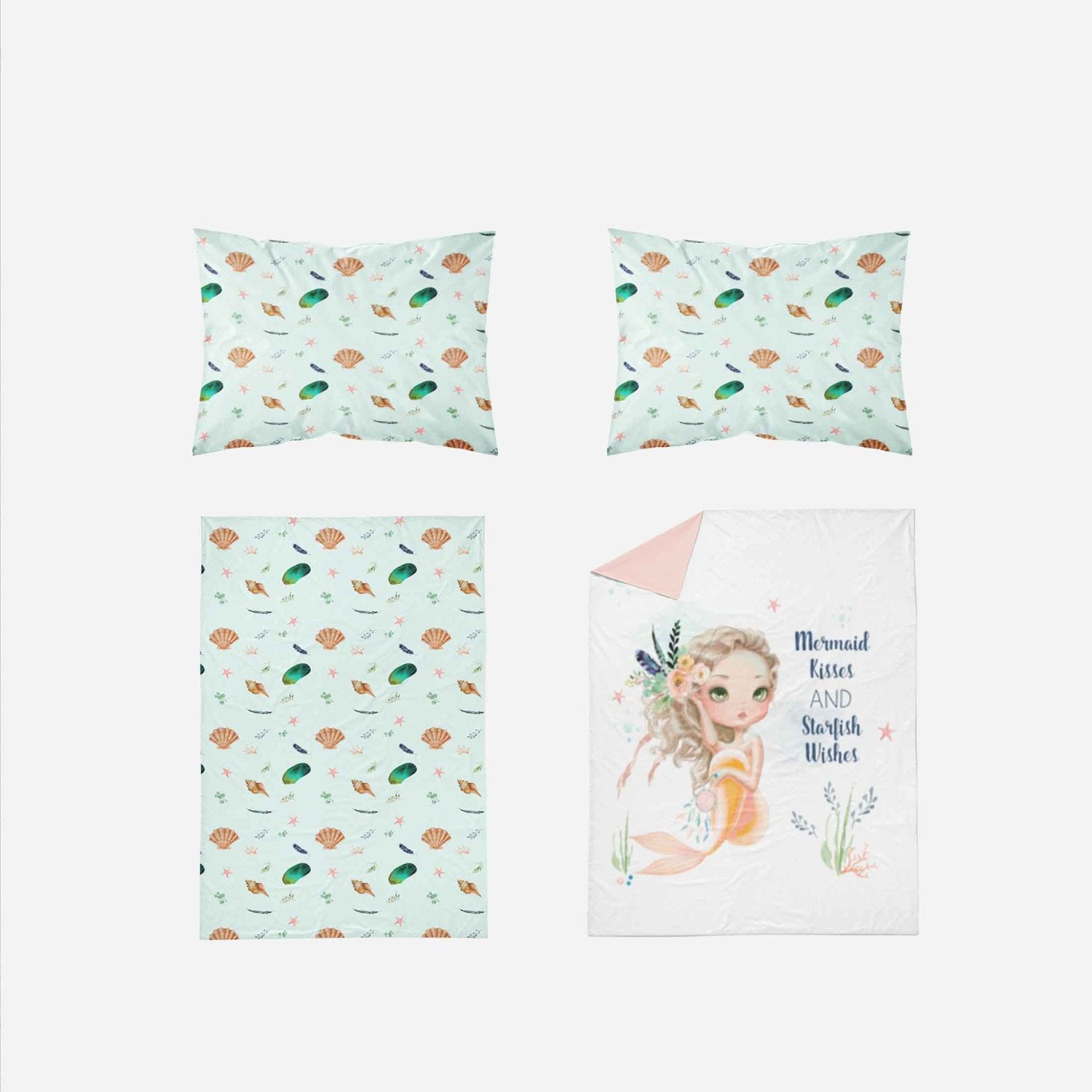 Mermaid Toddler Bedding - Peach Mint Mermaid Blanket - Orange Blossom Special  @orangeblossomspecial805