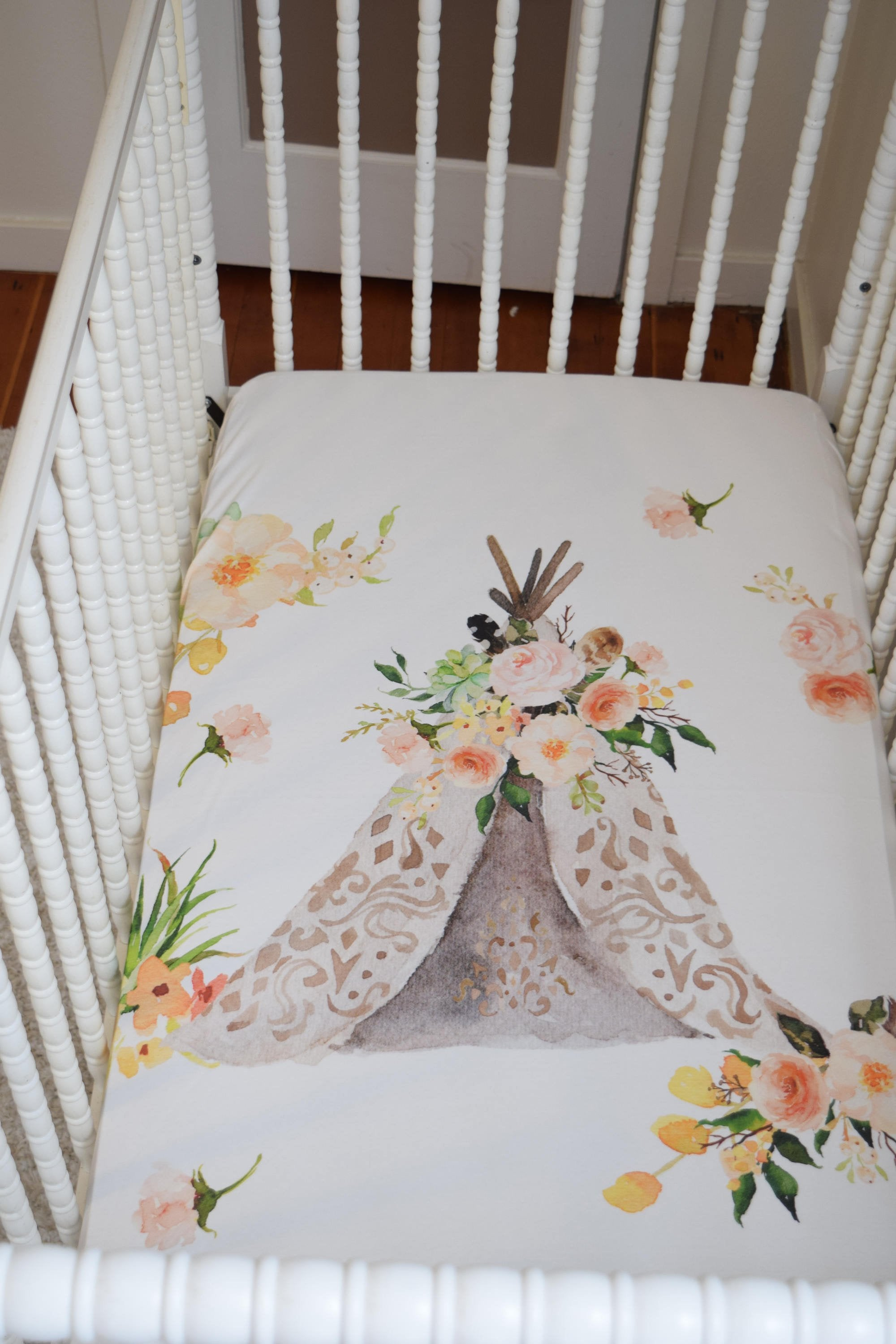 Girls Baby Bedding - Boho Floral Teepee Crib Sheet - Orange Blossom Special  @orangeblossomspecial805