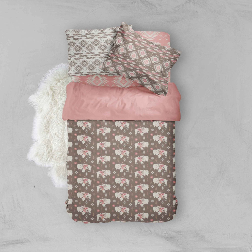 Girl Toddler Bedding Sets - Boho Chic Buffalo Floral - Dream Evergreen @DreamEvergreen