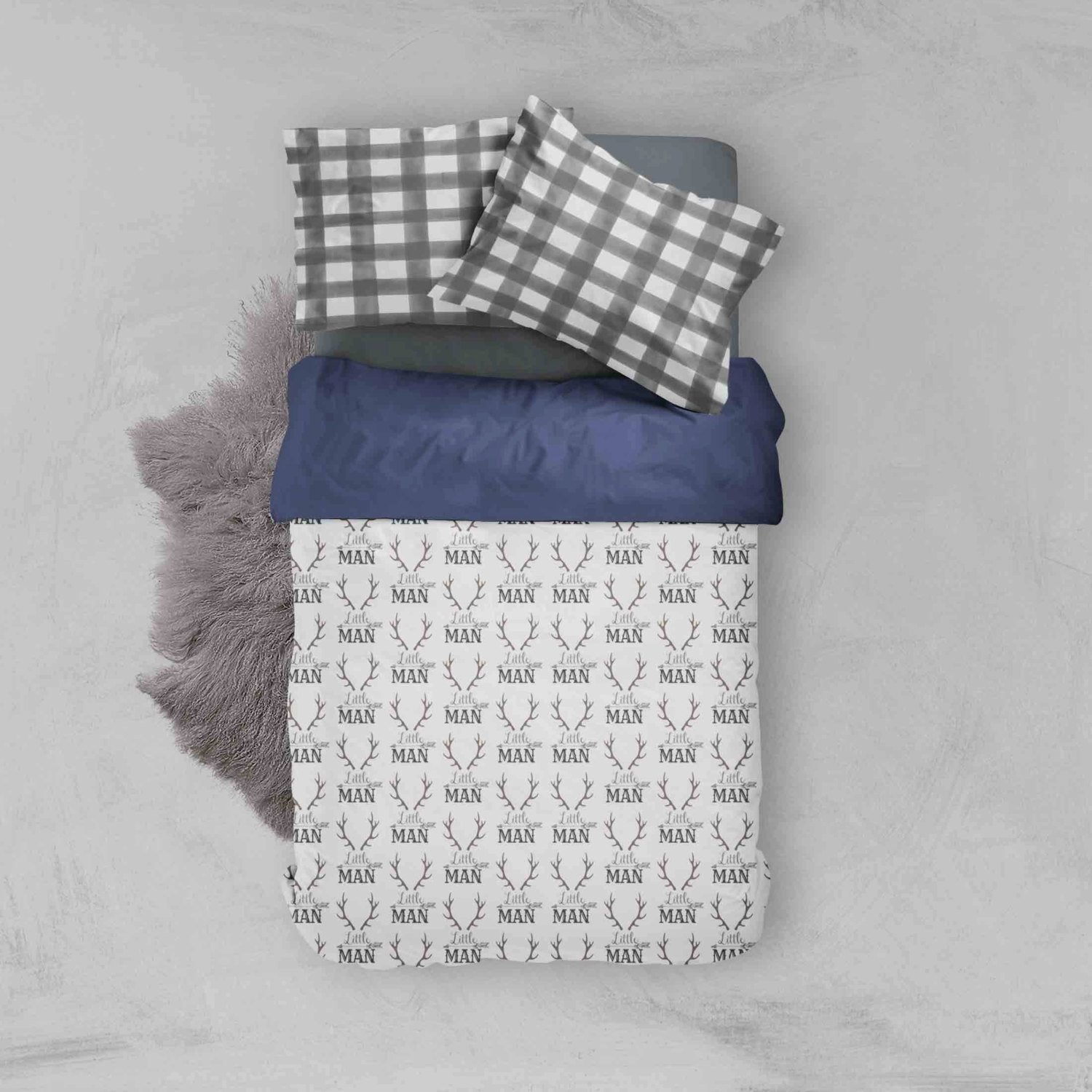 Woodland Toddler Bedding - Grey Little Man Plaid - Dream Evergreen @DreamEvergreen