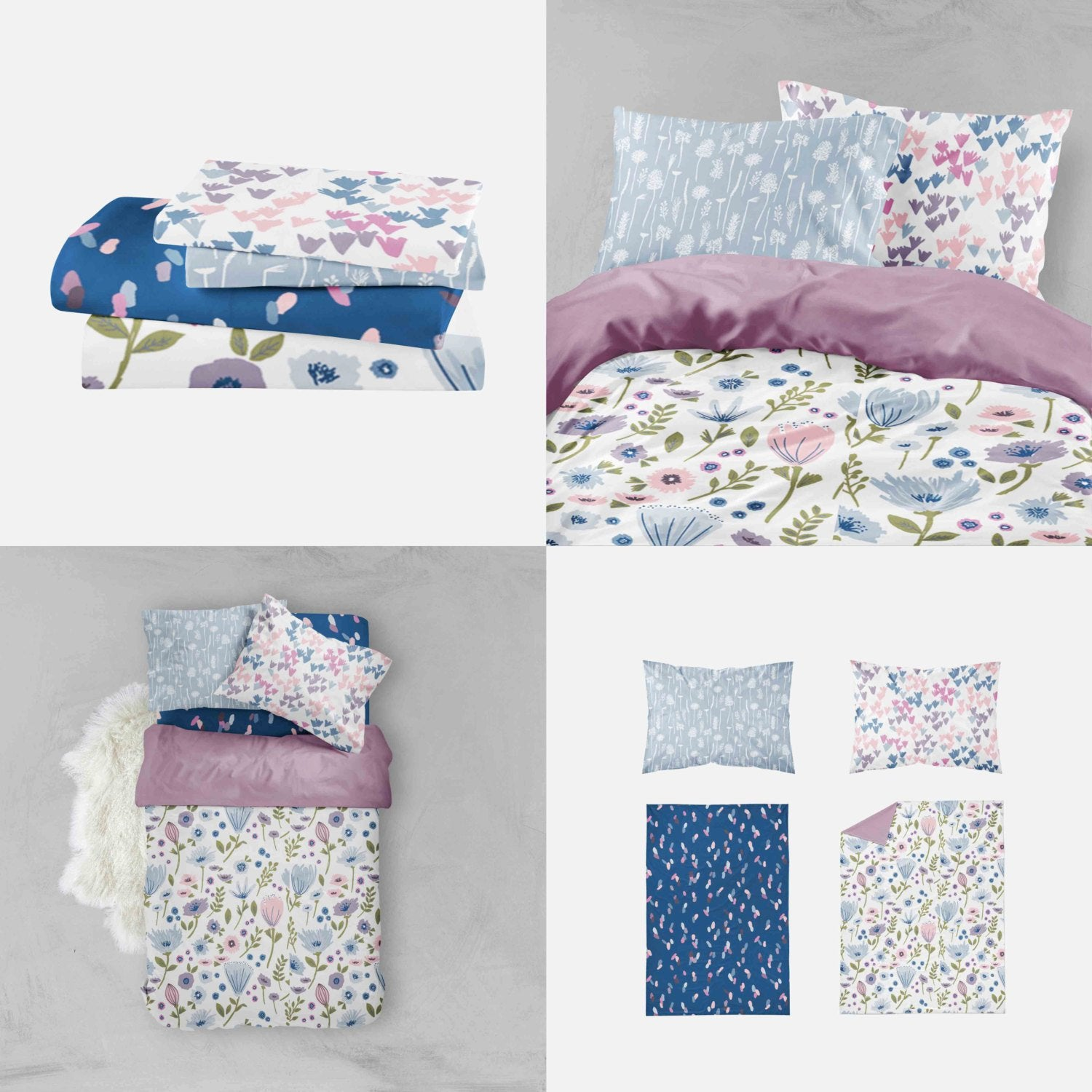 Girl Toddler Bedding Sets - Purple Blue Flowers - Orange Blossom Special  @orangeblossomspecial805