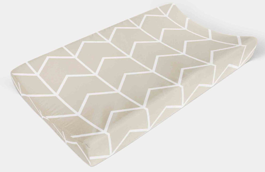 Changing Pad Cover - Tan Chevron  Herringbone Changing Pad - Dream Evergreen
