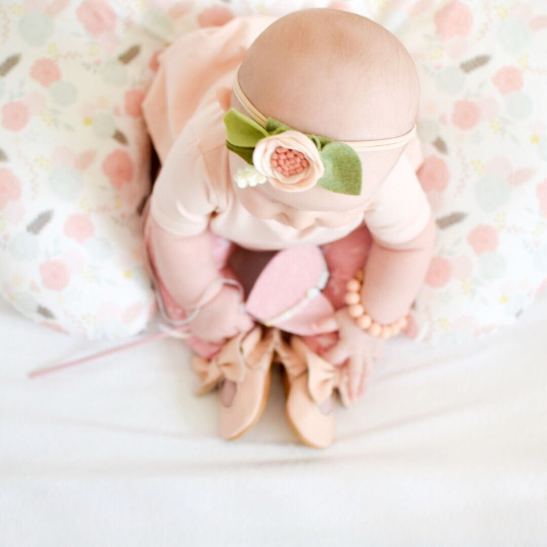 Pink Floral Boppy Cover - Cotton Front - Dream Evergreen @DreamEvergreen