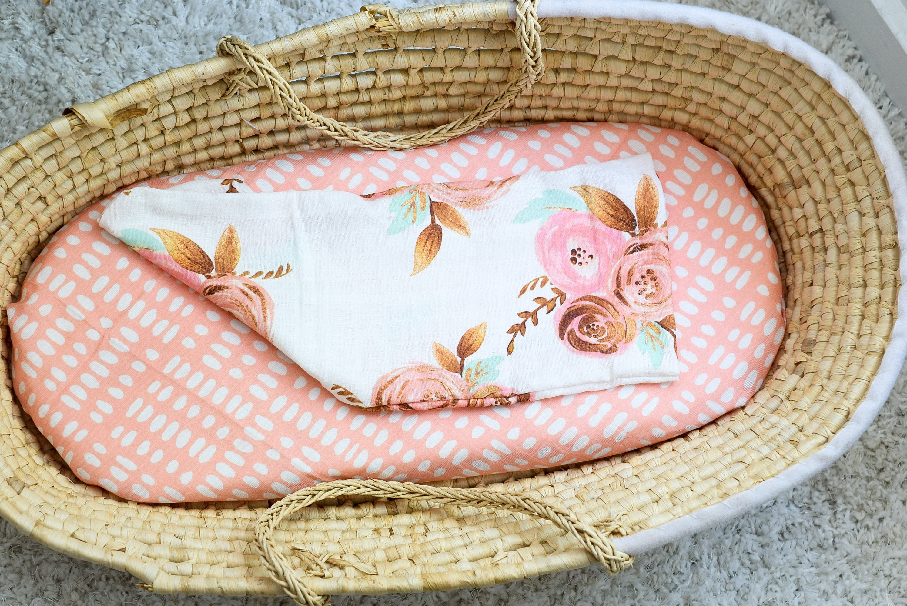 Gold Floral Swaddle Sack, Pink Flowers  Newborn Cocoon - Dream Evergreen @DreamEvergreen