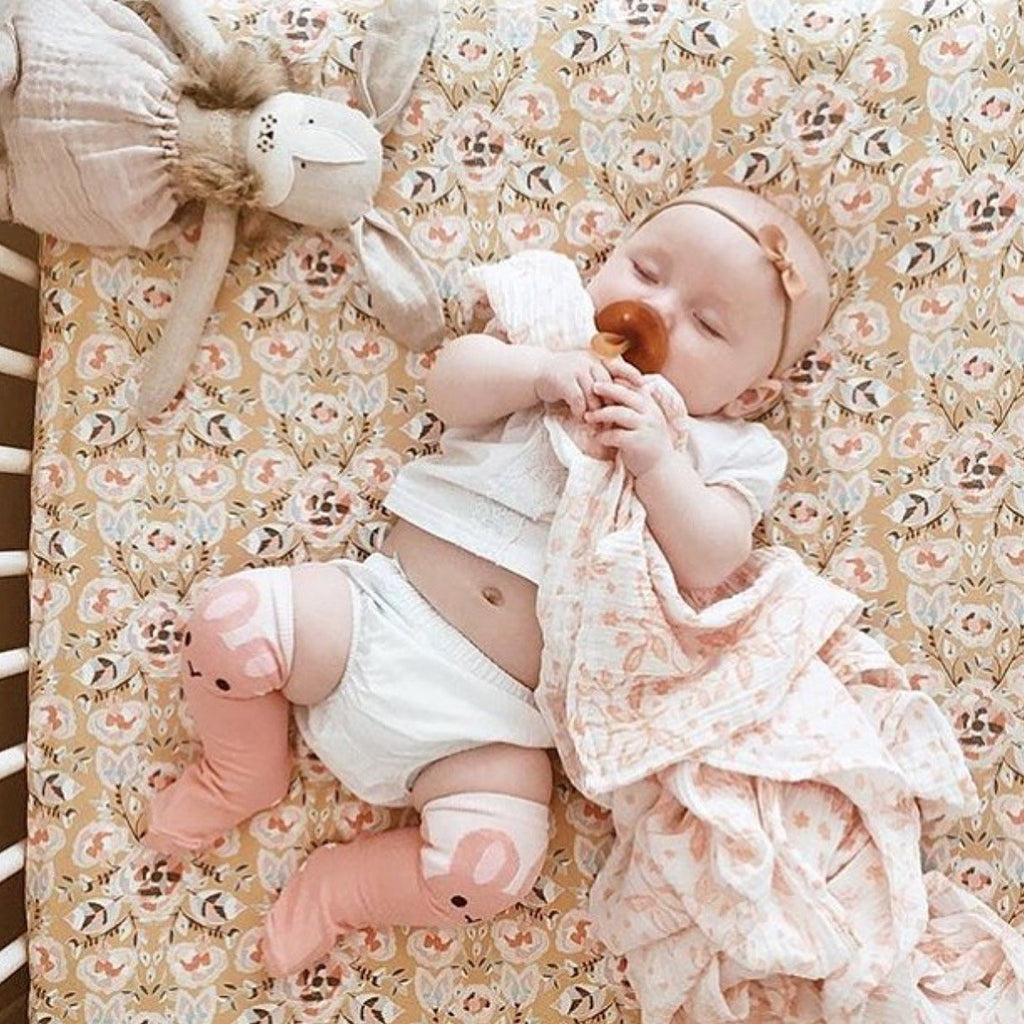 Floral Fitted Crib Sheet - Flowers Gold Glitz Pink - Orange Blossom Special  @orangeblossomspecial805