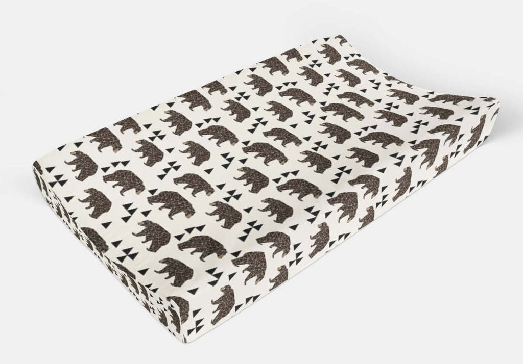 Changing Pad Cover Black Bear - Change Pad - Woodland Pad Cover - Baby Bedding - Minky Pad Cover - Bear Pad Cover - Modern Baby Shower Gift - Orange Blossom Special  @orangeblossomspecial805