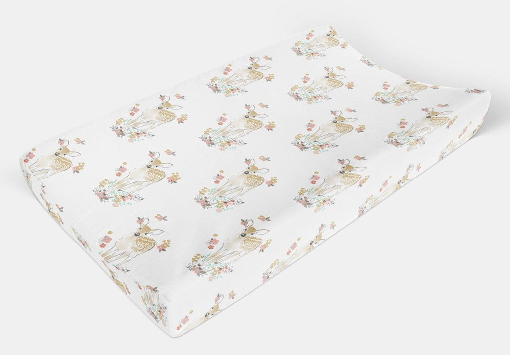 Girl Changing Pad Cover - Pink Fawn Change Pad Cover - Dream Evergreen @DreamEvergreen