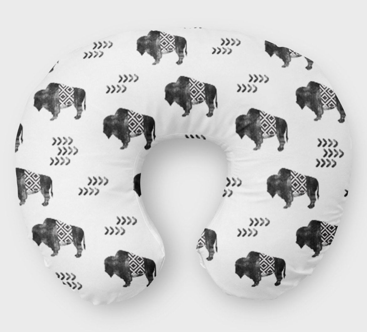 Buffalo Boppy Cover - Nursing Pillow Cover - Monochrome- Black White - Dream Evergreen @DreamEvergreen