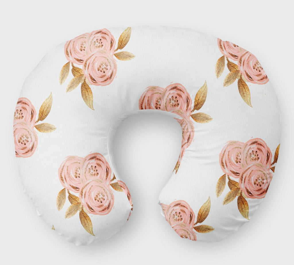 White Glitz Floral Nursing Pillow Cover- Boppy Cover - Orange Blossom Special  @orangeblossomspecial805