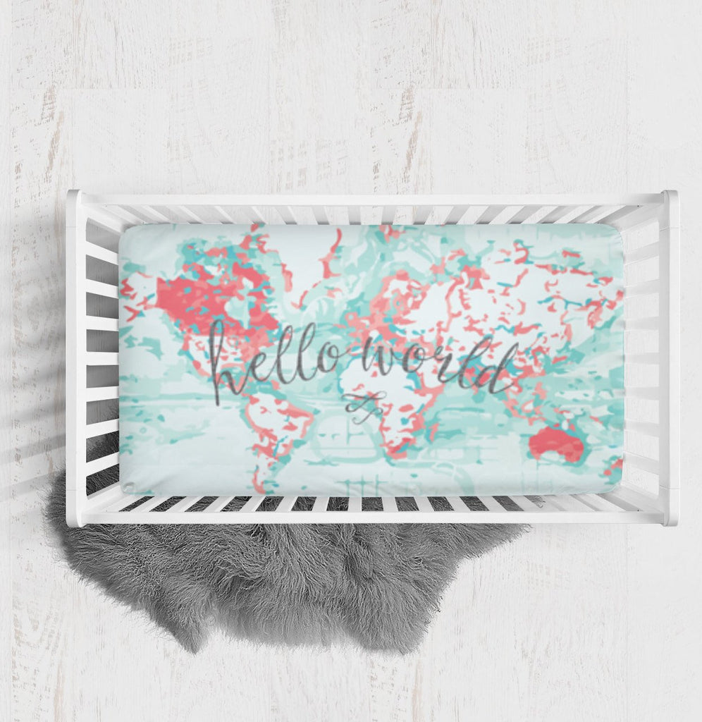 Hello World Fitted Crib Sheet - Coral Mint Nursery bedding - Dream Evergreen @DreamEvergreen