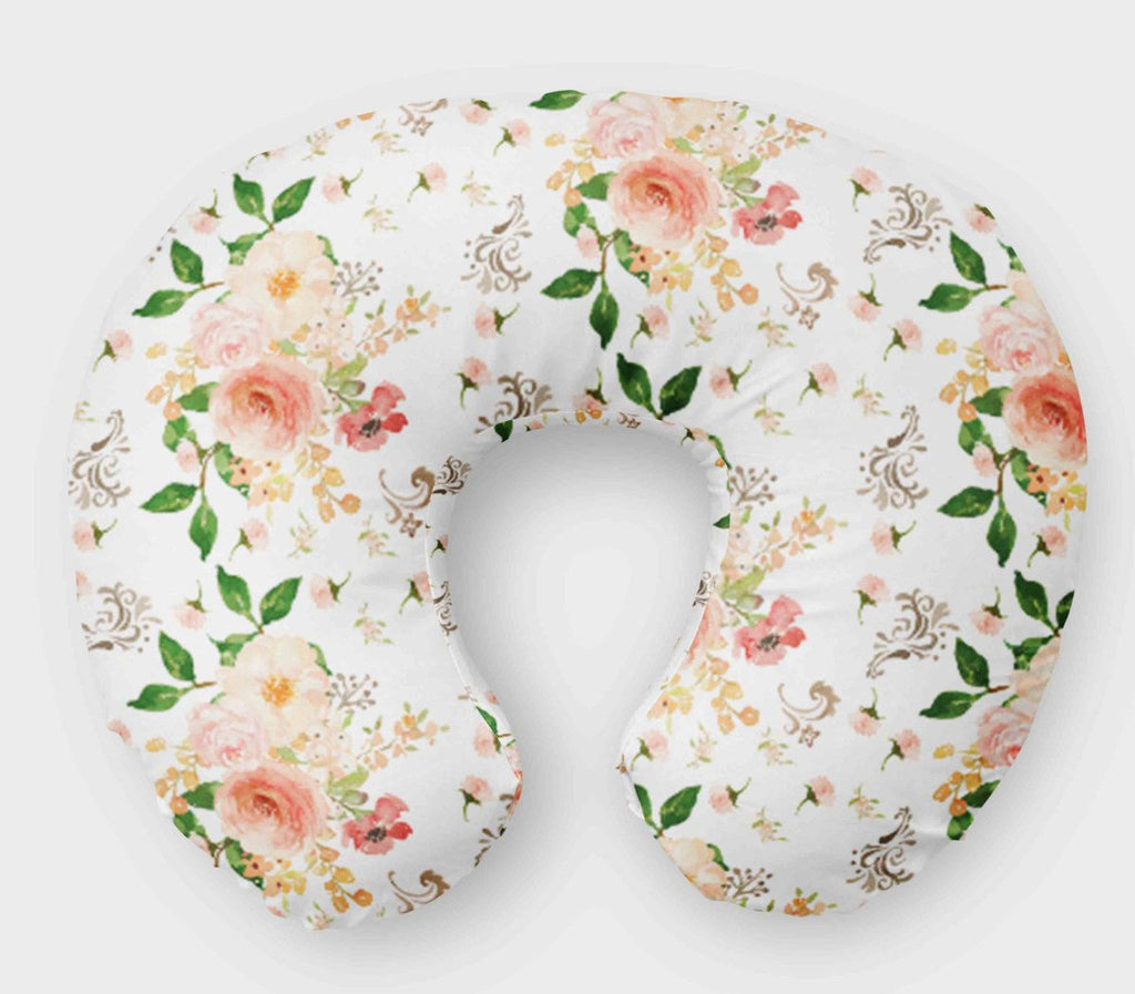 White Floral Boppy Cover - Flowers Nursing Pillow Cover - Orange Blossom Special  @orangeblossomspecial805