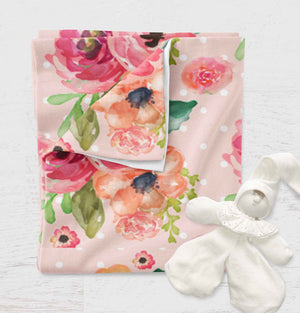Floral Swaddle Blanket - Flowers Baby Blanket - Girls Receiving Blanket - Chic Baby Shower Gift - Infant Newborn Swaddling Jersey Knit - Orange Blossom Special  @orangeblossomspecial805