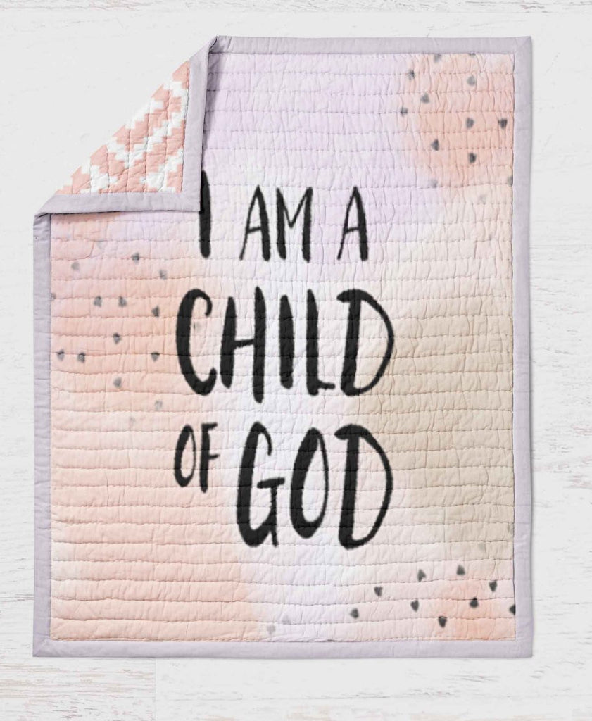 Child of God Quilt  - Pink Purple Throw Blanket for Girls - Girls Bedroom- Baby Shower Gift- Toddler Bedding - Toddler Blanket - Quilt Gift - Orange Blossom Special  @orangeblossomspecial805