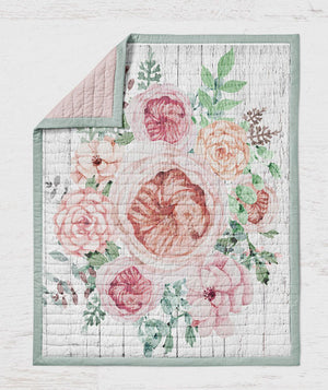 Floral Wood grain Quilt - Rustic Rose Throw Blanket - Dream Evergreen @DreamEvergreen
