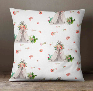 Flower Nursery Pillow - Teepee Pillow Cover - Dream Evergreen @DreamEvergreen
