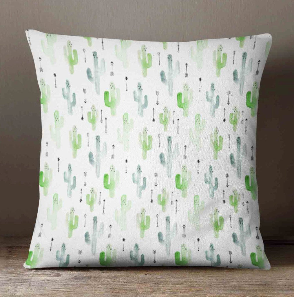 Cactus Pillow - Watercolor Green - Pillow Cover - Decorative Throw Pillow - Succulent Pillow Case  - Succulent Pillow Cover - Cacti Desert - Orange Blossom Special  @orangeblossomspecial805