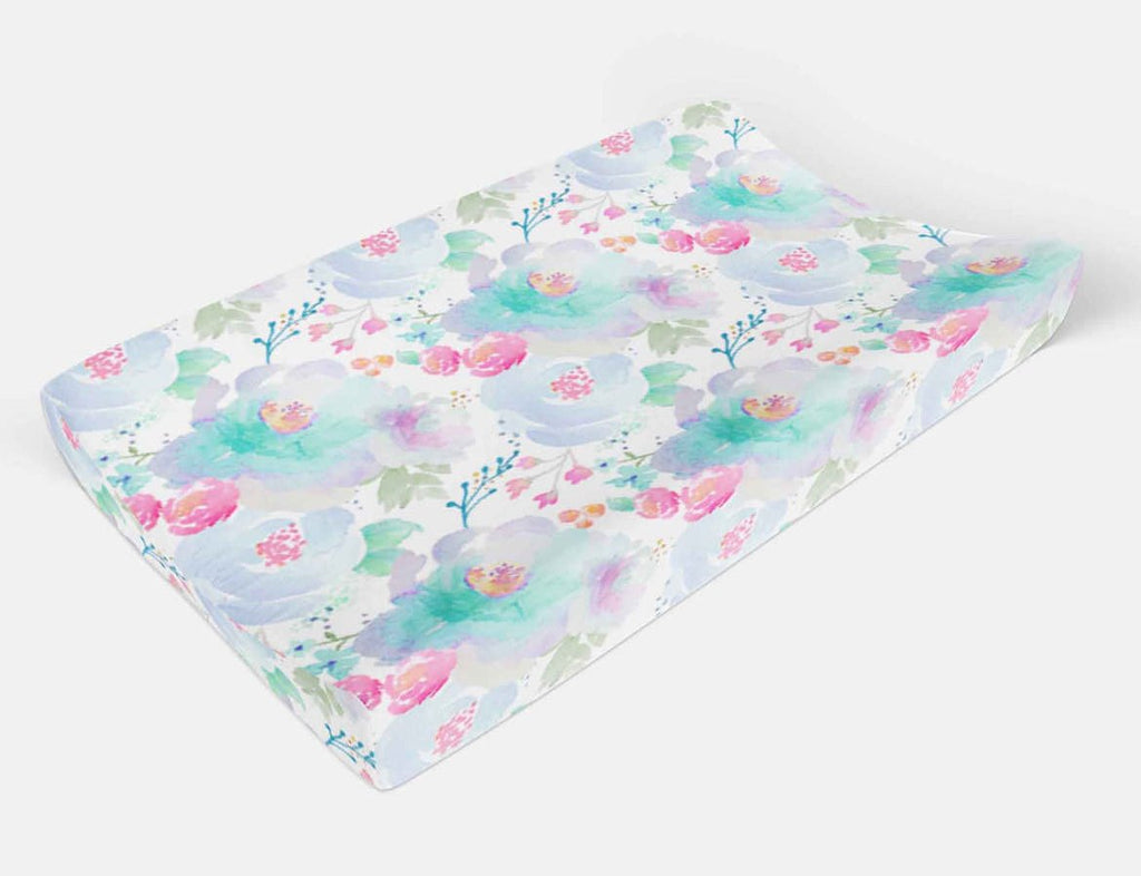 Floral Pad Cover - Purple Flowers changing pad cover - Orange Blossom Special  @orangeblossomspecial805