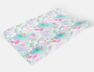 Floral Pad Cover - Purple Flowers changing pad cover - Dream Evergreen @DreamEvergreen