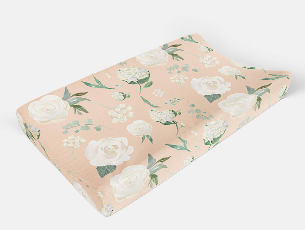 Floral changing pad cover -Flowers Pad Cover - Dream Evergreen @DreamEvergreen