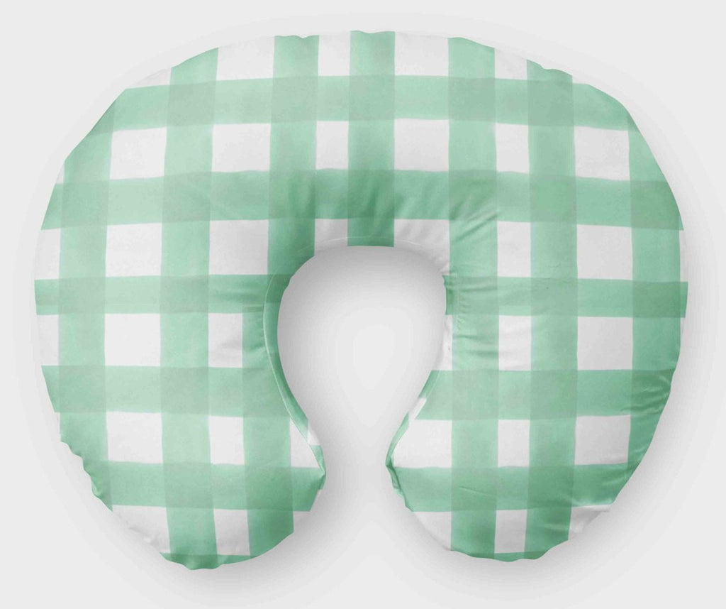 Mint Boppy Cover - Mint Watercolor Plaid Nursing Pillow Cover - Dream Evergreen
