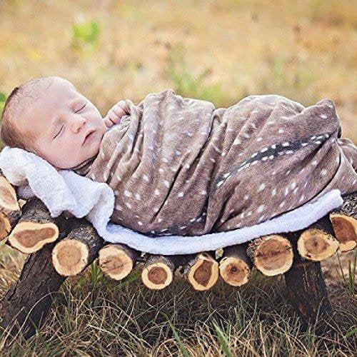Deer Swaddle Blanket - Woodland Fawn Baby Shower Gift - Buck Hunting Swaddle Blanket - Hospital Blanket - Baby Newborn Swaddle - Knit - Orange Blossom Special  @orangeblossomspecial805