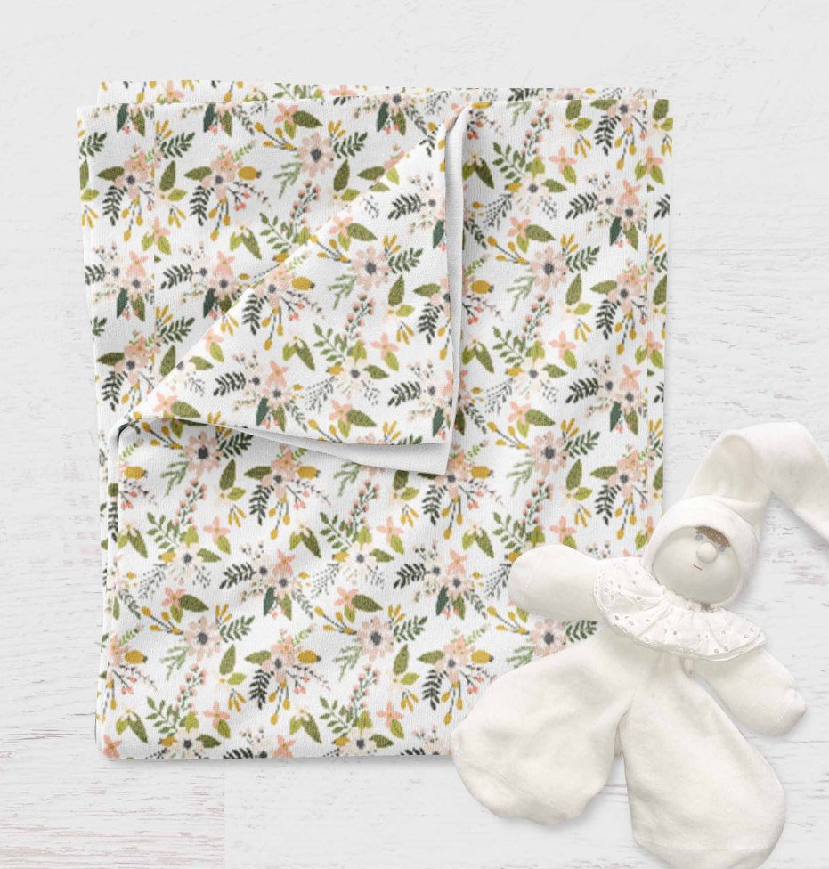 Stroller Blanket for Babies - Blush Flowers swaddle Blanket - Dream Evergreen