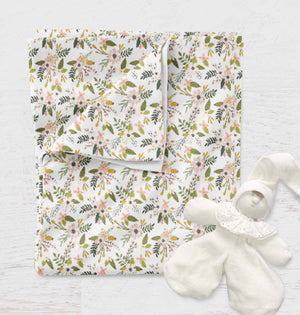 Stroller Blanket for Babies - Blush Flowers swaddle Blanket - Dream Evergreen @DreamEvergreen