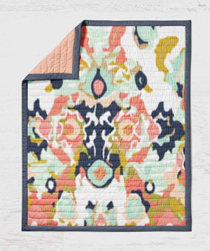Modern Quilt - Navy Coral Art Throw Blanket - Dream Evergreen @DreamEvergreen