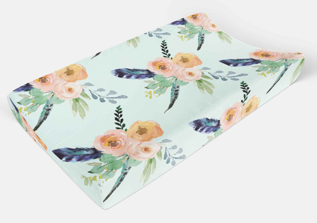 Flower Changing Pad Cover - Boho Floral Change Pad Cover - Orange Blossom Special  @orangeblossomspecial805